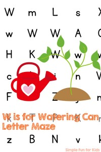 Work on learning and reviewing letter W with this cute W is for Watering Can Letter Maze! Fun for anyone who's learning letters, from toddler to kindergartener, and great for Earth Day or a gardening theme.