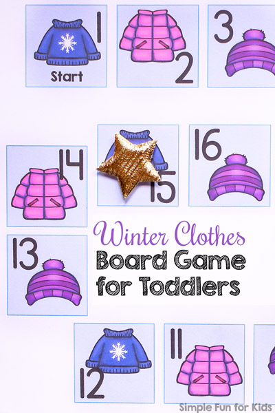 Want to try your toddler's first board game? This cute Winter Clothes Board Game for Toddlers is a super simple introduction to taking turns and moving a pawn from start to finish. (Day 24 of the 24 Days of Christmas Printables for Toddlers)