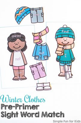 Winter Clothes Pre-Primer Sight Word Match Printable