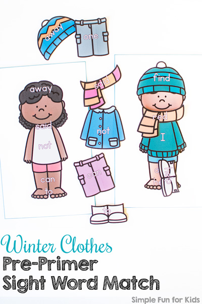 Have fun dressing up paper dolls while reviewing sight words with this cute printable Winter Clothes Pre-Primer Sight Word Match! Perfect for preschoolers and kindergarteners who are learning to read! Also works great in a busy bag you can take along for situations where you need a boredom buster.