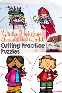 Talk about different winter holiday traditions while working on these cute printable Winter Holidays Around the World Cutting Practice Puzzles! Three different levels of difficulty with straight lines, curved lines, and zig-zag lines. Great for preschoolers and kindergarteners!