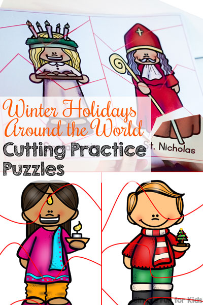 Winter Holidays Around the World Cutting Practice Puzzles