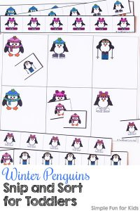 Cutting and sorting practice for toddlers all rolled into one with this cute Winter Penguins Snip and Sort printable. (Day 8 of the 24 Days of Christmas Printables for Toddlers.)